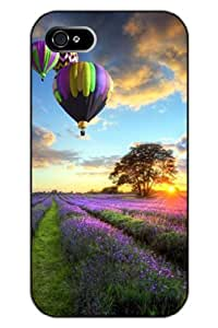 SPRAWL Unique Clear Design Lavender Hot Air Balloon and Sunset Protective Hard Plastic Snap on iPhone 5 5S Case Flower of Life