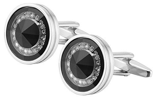GGemony Men's Silver Tuxedo Shirts inlay Crystal Cufflinks 2PCS, Gift Box (XZ006) (Inlays Cufflinks Men)