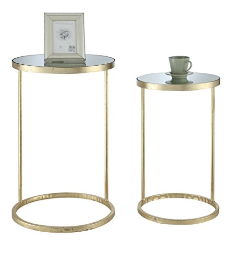 Convenience Concepts Coast Collection Round Nesting Mirror End Tables, Antique Gold - Mirror Tabletop Antique Gold Finish Frame Easy Assembly Tools Provided - living-room-furniture, living-room, end-tables - 41Wx9%2B6ffgL -