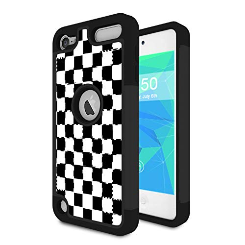 (iPod Touch 6 Case,iPod Touch 5 Case,Spsun Dual Layer Hybrid Hard Protector Cover Anti-Drop TPU Bumper for Apple iPod Touch 6th/5th Generation,Checkered Flag)
