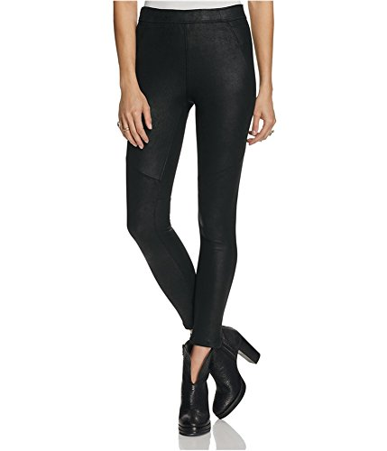 People Leather - Free People Womens Faux Leather Pull On Pants Black 10