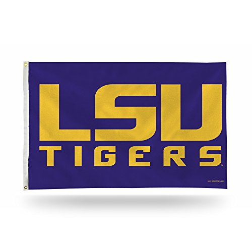 Lsu Tigers Single - Rico Industries NCAA LSU Tigers 3-Foot by 5-Foot Single Sided Banner Flag with Grommets