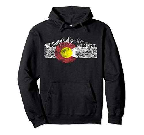 Colorado Flag and Mountains - Rocky Mountains Pullover Hoodie (Colorado Hoodie)