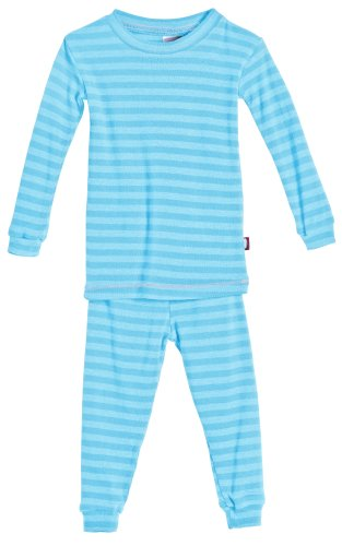 City Threads Boys and Girls Pajama Set Thermal PJ Poly Cotton Long John Fottie Long Sleeve Made in USA, Turqy Stripe, 4 - Long Girls Pajamas
