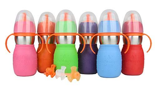Kid Basix de New Wave - Safe Sippy 2; Taza de acero inoxidable para bebés y niños pequeños con paja