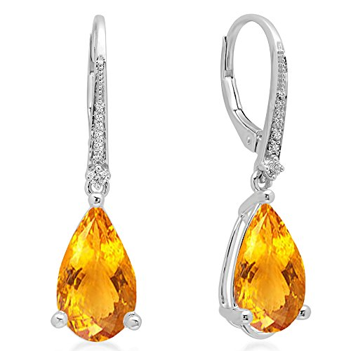 Dazzlingrock Collection 14K 14X8 MM Each Pear Citrine & Round White Diamond Dangling Drop Earrings, White -