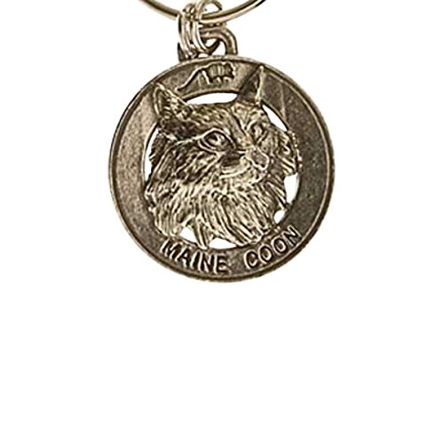 Fine Pewter Keychain - Creative Pewter Designs, Pewter Maine Coon Cat Key Chain, Antiqued Finish, CK005