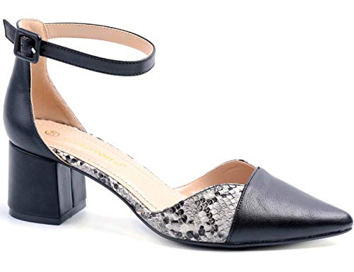 Greatonu Party Dress Pump Adorable Low Block Heel Closed Toe Chunky Sandals (10 US, Snake Print with Black)