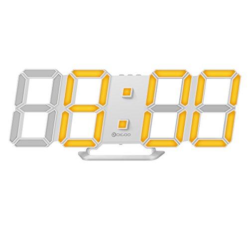 DIGOO DC-K4 3D LED Digital Wecker,Multifunktions Digital Wecker,Bicolor Display Auswahl,Dekorative Wanduhr,DREI Einstellbare Helligkeit,Snooze Funktion,12/24 Stunden Anzeige,Minimalistisches Design.