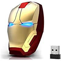 Ergonomic Wireless Mouse Cool Iron Man Mouse 2.4 G Portable Mobile Computer Click Silent Mouse Optical Mice with USB…