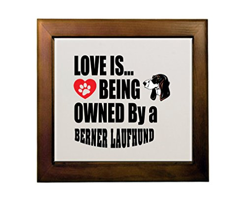 Price comparison product image BERNER LAUFHUND DOG Love is Being Owned Ceramic Tile in Wood Frame