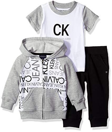 (Calvin Klein Baby Boys 3 Pieces Jog Set Pants, Gray/Black, 18M)