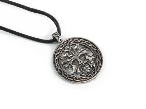 Gm Pewter Pendant - Creative Ventures Jewelry Celtic Green Man for Growth, Pewter Pendant on Adjustable Corded Necklace