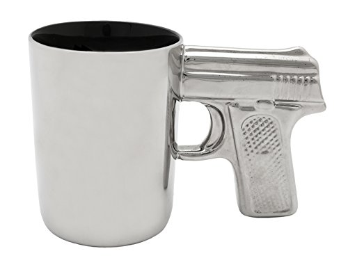 AGS Brands Ceramic Gun Mug, Chrome, 16.9-Ounce