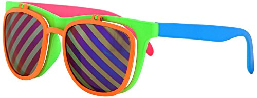 Flip Up Neon Hipster Costume Glasses for Men by - Neon Retro