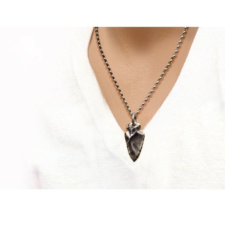 Generic Yi_Thai_ Silver _mining_ Silver Korean _version the_iux people_ men's 925 Silver necklace Pendant s_ women girl nightclub personality accessories stone _arrowhead_ necklace (Sier Head)