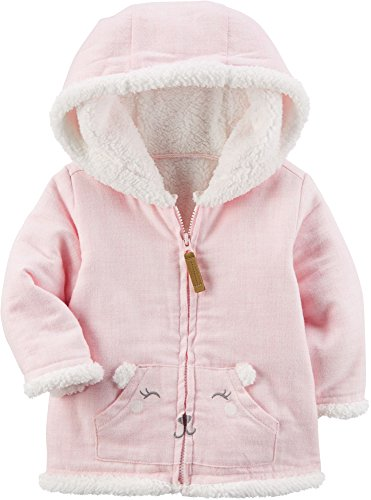 83aa0f5ace40 Carter s Baby Girls  3M-24M Bear Face Pocket Faux Sherpa Hooded ...