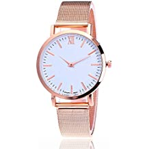 Clearance! Womens Quartz Watches, Luxury Business Quartz Wrist Watch Stainless Steel Dial Crystal Bracelet Watches for Girls Gift Present,Leather Band Watch