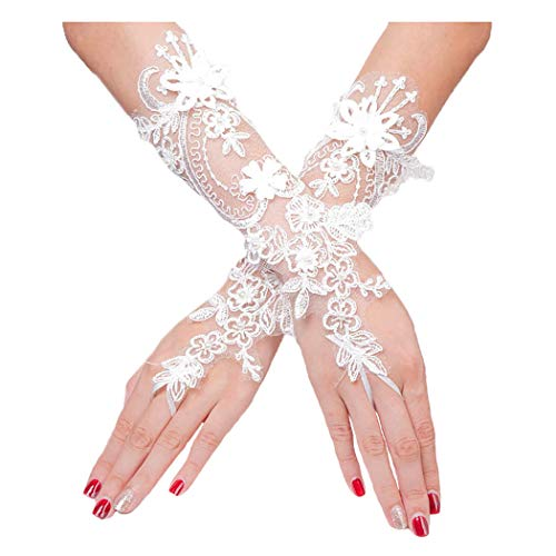 Barode Lace Flower Fingerless Gloves Pearl Wedding Bridal Glove for Women and Girls