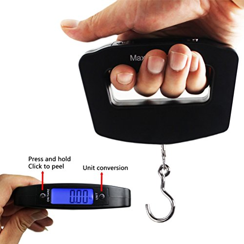 Odowalker Fishing Scale Luggage Weighing Scale Digital Electronic Balance Backlit LCD Display Scales with Hanging Hook,50 Killogram / 110 lb - Big Handle by Odowalker (Image #4)