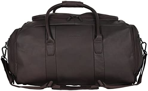 Kenneth Cole Reaction Duff Guy Colombian Leather 20 Single Compartment Top Load Travel Duffel Bag, Brown