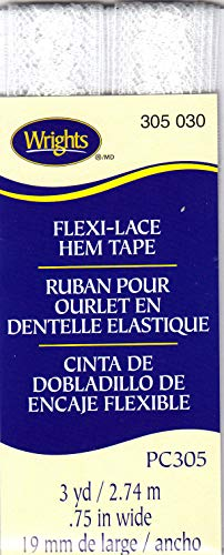 WRIGHTS WHITE (030) FLEXI-LACE HEM TAPE-3 YDS-REPAIR, CLOTHING, ()