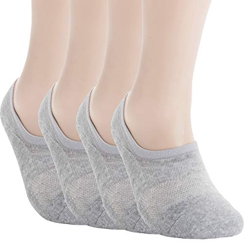 Pro Mountain Women's No Show Flat Cushion Cotton Footies Sneakers Sports Socks (S(US Women Shoes 5.5~7.5), Gray 4pairs Pack S-size)