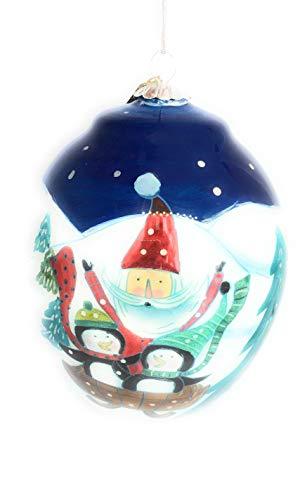 - Pier 1 Imports Christmas Tree Ornament Hand Blown Glass Li Bien Hand Painted Santa Penguin 2017