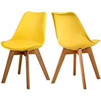 Mid Century Modern Designer Dining Chairs Elegant Eames Style Dining Room Chairs with Sturdy Wooden Legs (Yellow×2)
