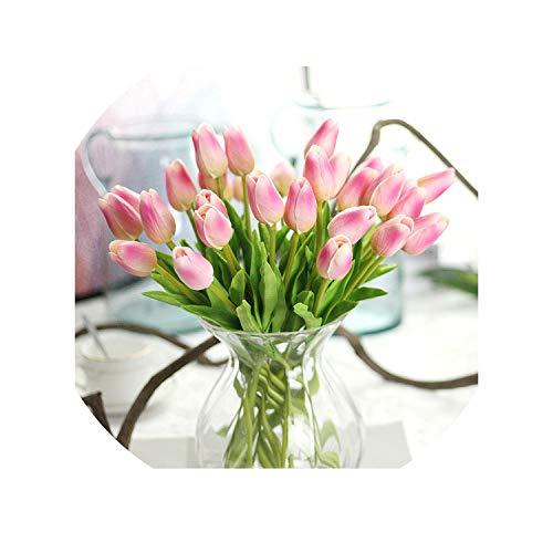 30PCS/LOT pu Mini Tulip Flower Real Touch Wedding Flower Artificial Flower Silk Flower Home Decoration Hotel Party,Dark Pink,5pcs ()