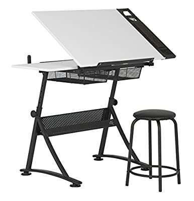 """Studio Designs Modern Fusion Craft Center with 24"""" Tray and Stool, Charcoal/White"""