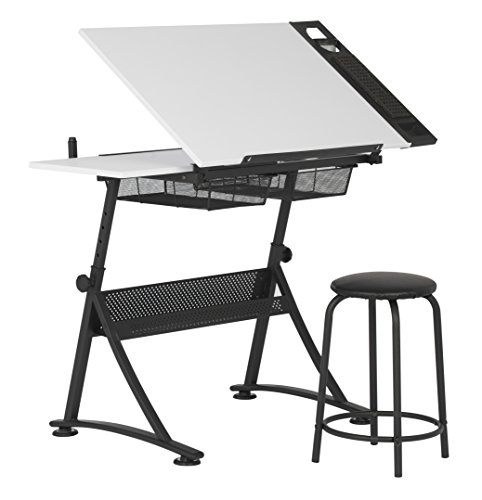 Studio Designs Modern Fusion Craft Center with 24'' Tray and Stool, Charcoal/White by Studio Designs