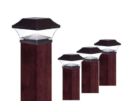 EZSolar QTP7-R2-BK-4 2X Brighter Premium Solar Plastic Post Cap, Set of 4