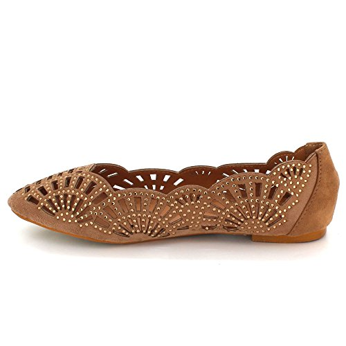 la Bomba Plana de señoras Zapatos de Aarz Bailarina Ocasional Comfort de Negro la los la Marrón Marrón de de Mujeres Diamante tamaño Tarde Las ZzzOUq