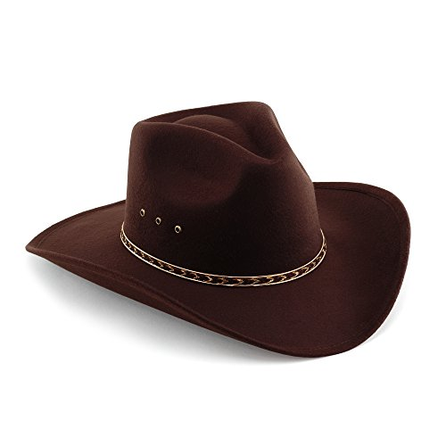 Western Pinch Front Faux Felt Cowboy Hat - Brown - 7 ()