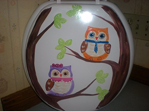 Hand painted owls in a tree standard white toilet seat. (Hand Painted Bathroom)