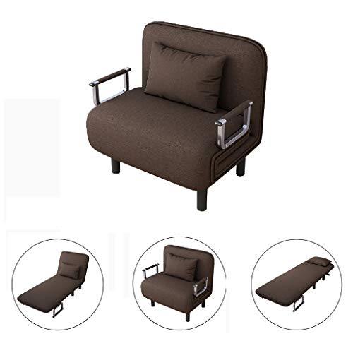 ErYao Convertible Sofa Bed Folding Arm Chair Sleeper, Recliner Full Padded Lounger Couch Bed, Mental Frame with Detachable Armrest Cover Home Office Furniture with Pillow(USA Stock) - Frame Lounger