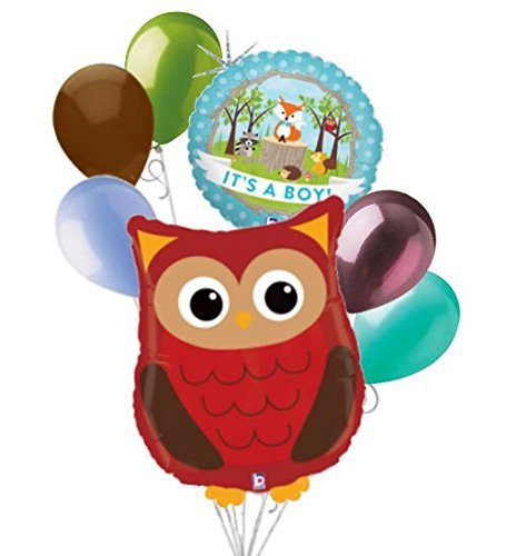 Newborn Boy Balloons Bouquet - 7 pc Woodland Owl It's a Baby Boy Animals Balloon Bouquet Party Decoration Woods
