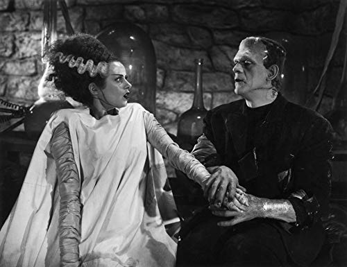 Peel-n-Stick Poster of Boris Karloff Elsa Lanchester Bride of Frankenstein Poster Art Halloween Posters Artwork Poster 24x16 Adhesive Sticker Poster -