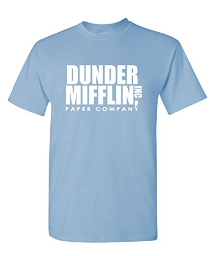 (Dunder Mifflin - Office Show Paper Company - Mens Cotton T-Shirt, L, Lt Blue)