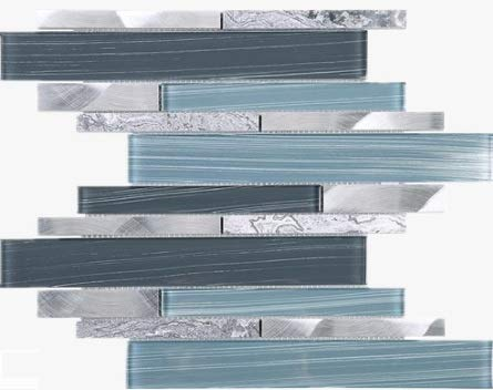 Glossy Blue Glass and Blue Stone Random Brick Straight Pattern Glass Mosaic Tiles for Bathroom and Kitchen Walls Kitchen Backsplashes