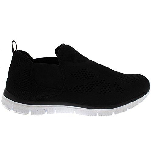 Womens Elastic Mesh Walking Running Gym Lichtgewicht Atletische Sneakers Zwart / Wit