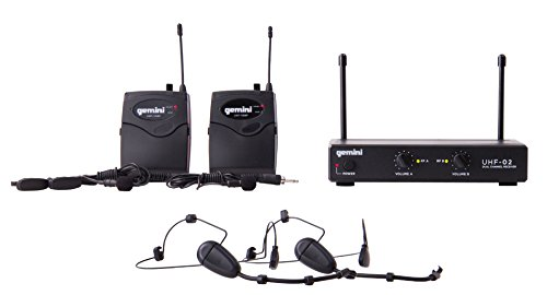 Gemini UHF Series UHF-02HL-S12 Professional Audio Dual Channel Wireless UHF System and Headset/Lavalier Wireless Microphone with 150ft Range