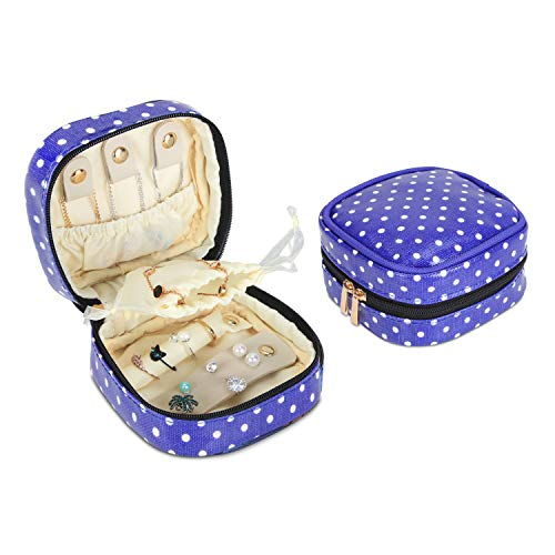 Dot Jewelry - Teamoy Mini Jewelry Travel Case, Zippered Jewelry Organizer Box for Earrings, Necklace and Rings, Purple Dot