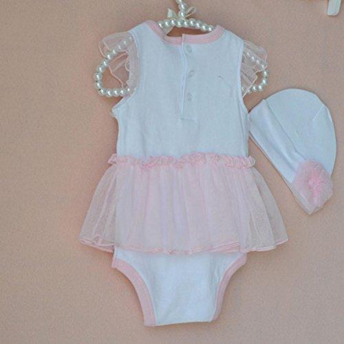 Ropa Sets infantil janly 0 - 18 meses niña Punta Corazón Pelele vestido + sombrero verano ropa trajes Rosa Talla:12-18 meses: Amazon.es: Bebé