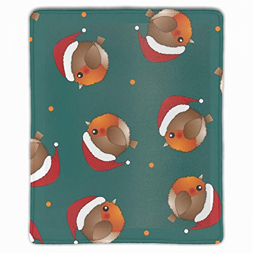 Gaming Mouse Pad Mat, Waterproof, Thick 3mm, 11.8 x 9.8 inch, Multicolor (Red Robin Bird Santa Claus On Green)