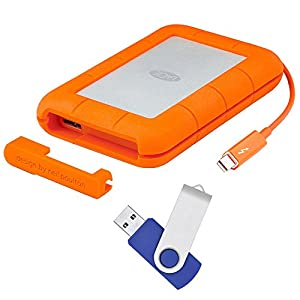 LaCie Rugged Thunderbolt USB 3.0 1TB External Hard Drive with Flash Transfer Kit