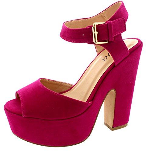 Gamuza Tacones Correa Mujer Sandalias Faux Zapatos Tobillo Plataforma 5AcRqj3L4S