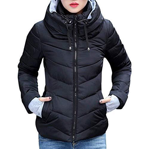 Encapuchado Manga Retro Mujer Slim Invierno Fit Espesar Larga Schwarz Fashion Informales Talla Outdoor Elegantes Abrigos Chaqueta Acolchada Caliente Grande wH7n0r7qYx