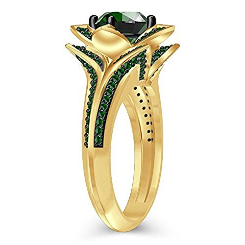 tusakha Round Created Green Emerald Engagement Wedding Lotus Flower Ring in 14K Yellow Gold Plated